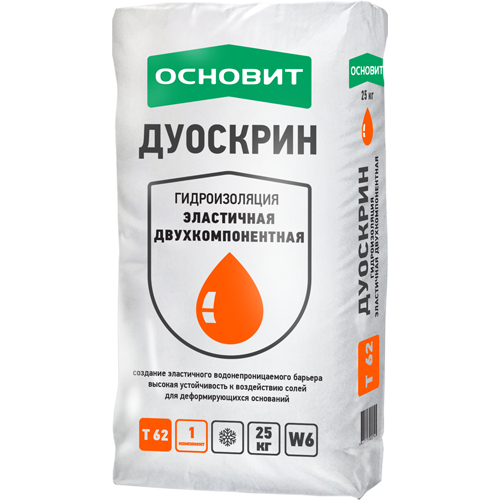Гидроизоляция обмазочная эластичная двухкомпонентная Основит Дуоскрин T-62 (сухой компонент)