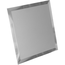Зеркальная плитка квадратная серебряная с фацетом матовая 10 мм