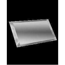 Зеркальная плитка прямоугольная серебряная с фацетом 10 мм