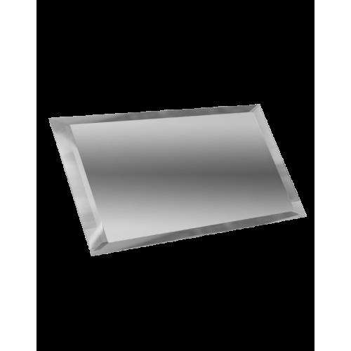 Зеркальная плитка прямоугольная серебряная с фацетом 10 мм (150x75 мм) (шт.)
