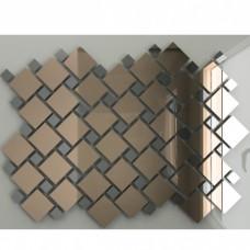 Зеркальная мозаика Бронза (70%) + Графит (30%) с чипом 25x25, 12x12 мм