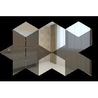 Зеркальная мозаика Ромб Графит (60%) + Серебро (40%)