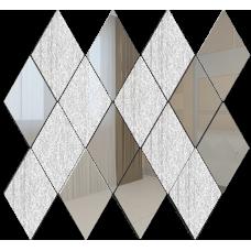 Зеркальная мозаика Ромб вертикальный Серебро (50%) + Хрусталь (50%)
