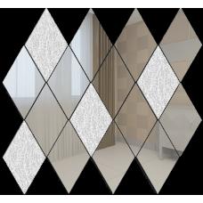 Зеркальная мозаика Ромб вертикальный Серебро (80%) + Хрусталь (20%)
